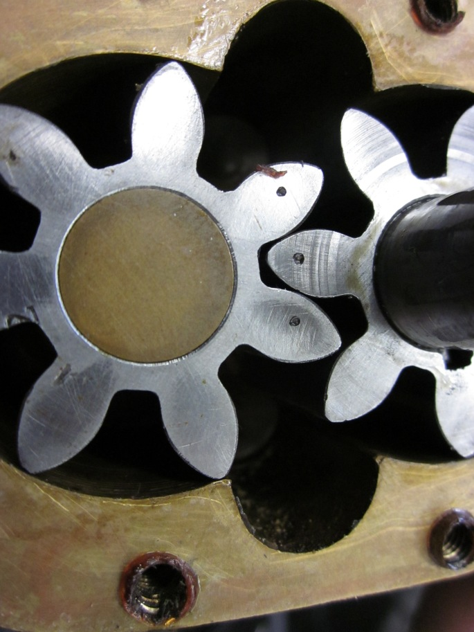 Oil pump gears with markings