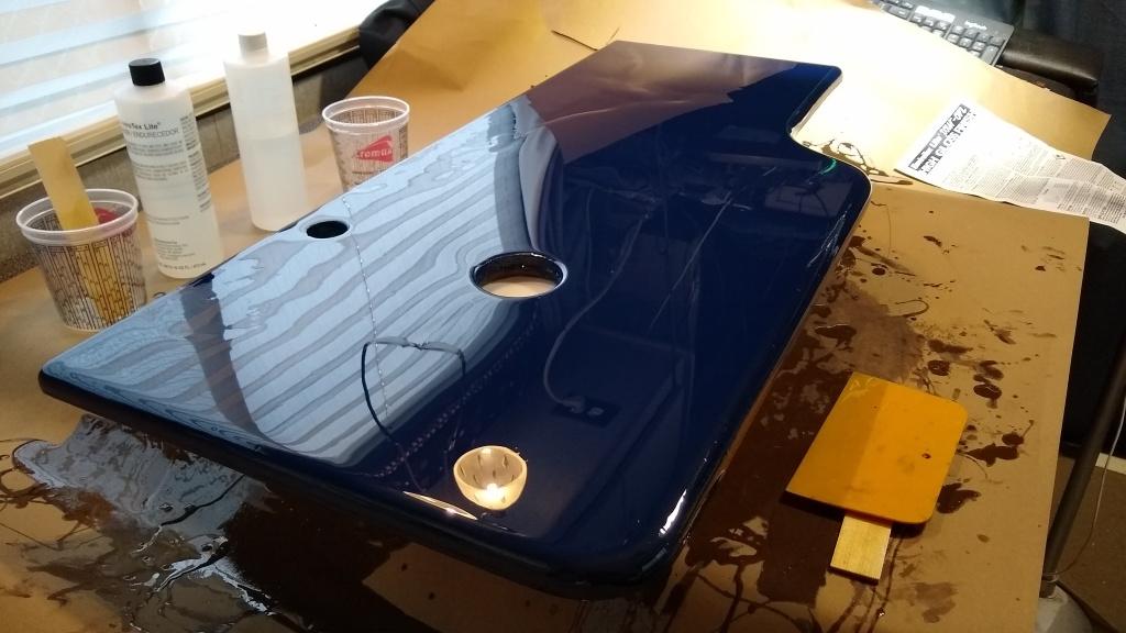 Pouring epoxy over the new vanity top